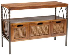 Amazon.com - Safavieh American Home Collection Crowley Antique Dark Walnut and Pewter Three Drawer Console Table - Sofa Tables