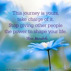 This journey is yours, take charge of it. Stop giving other people the power to shape your life. - Steve Maraboli