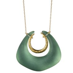 Gold Angled Horseshoe Pendant::Necklaces::Jewelry By Category::Alexis Bittar