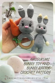 A set of two files for less. PDF tutorial amigurumi bunny toy and bunny rattle. You can purchase these files individually.