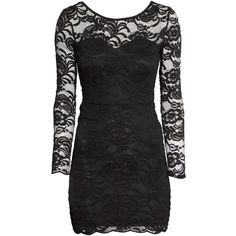 H&M Lace dress ($7.34) ❤ liked on Polyvore featuring dresses, vestidos, short dresses, robe, black, lace mini dress, lace cocktail dress, long sleeve mini dress, long sleeve lace cocktail dress and long-sleeve mini dress