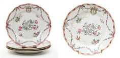 Set of Four Chinese Export Porcelain Armorial Plates  Qianlong Period, late 18th century, probably made for the Continental market  The central floral monogram surrounded by floral sprays and birds and butterflies continuing to a floral garland border centering a coat of arms.