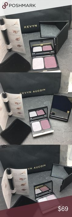 Kevyn Aucoin makeup kit and bag The Iconic Kevyn Aucoin known for their amazing super raved makeup by many beauty gurus. This makeup bag is no exception with 1. Full size eye shadow duo in 201 Antique silver and Plum shimmer. 1. Deluxe sample size The Eye Pencils Primatif creamy kohl formula. 1. Mirror with KA signature and one Makeup bag with KA signature. All brand new never used. kevyn Aucion Makeup