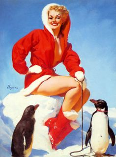Christmas pin up art by Gil Elvgren.