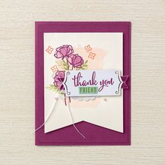 Stampin' Up! Demonstrator Pootles – Being a Stampin' Up! Demonstrator has such great Perks…So let's Share What You Love! Love Cards, Diy Cards, Thank You Cards, Card Crafts, Pretty Cards, Handmade Greetings, Greeting Cards Handmade, Stampin Pretty, Thanks