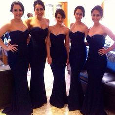 Custom made 2015 New Big Discount Sweetheart Black Satin Mermaid sleeveless long Bridesmaid Dresses formal dresses