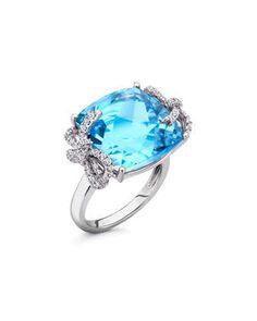 Diamond+Bow+18k+Gold+Blue+Topaz+Ring+by+Kiki+McDonough+at+Neiman+Marcus.