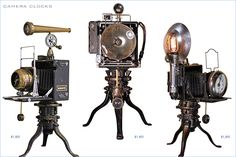 clocks that look like old tyme cameras... perfect for me!