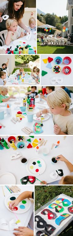 Super Hero Party - love this party craft of making super hero masks! (One More Mushroom)