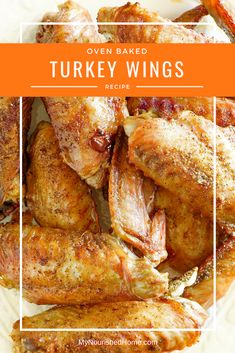 These oven baked turkey wings are a GREAT. These oven baked turkey wings are a GREAT recipe. They are crispy outside and really flavorful. We always make them in the fall because we turn the leftovers into turkey stock and freeze it for holiday cooking. Bake Turkey Wings Recipe, Roasted Turkey Wings Recipe, Healthy Turkey Wings Recipe, Crispy Baked Turkey Wings, Crockpot Turkey Wings, Smothered Turkey Wings, Turkey Drumsticks, Crispy Fried Chicken, Baked Chicken