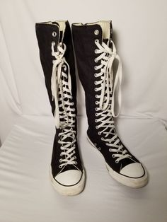 e306d845148123 Converse All Star Chuck Taylor Black Lace Zip Buckle Knee High Shoes Men 8   W