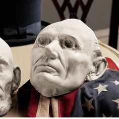 Spark conversations by displaying the Design Toscano Volks Abraham Lincoln Life Mask on a table or hanging along a wall. The mask was made in 1860 by. Abraham Lincoln Life, Cigar Store Indian, Tribal Warrior, American Presidents, Hand Cast, Decorative Objects, Classic, Statues, Illinois State
