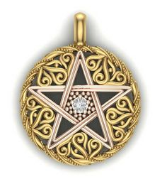 High Quality Pagan Symbol in Gold with Center Set Diamond