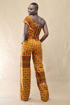 The One Shoulder Jumpsuit is HANDMADE from the Neema Mansaray Kollection with elegant African fabric from Ghana. This jumpsuit is Made to Order and comes in different fabric colors based on the customer's desire. YOU WILL BE CONTACTED FOR YOUR MEASUREMENTS. Washing directions: hand wash or wash on delicate cycle only.