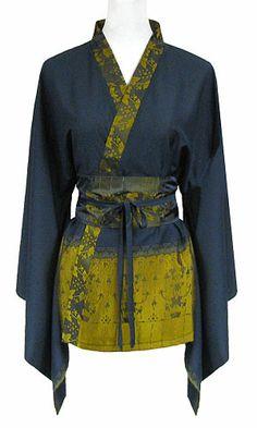 Chemise kimono femme en soie bleu marine