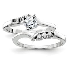 14k White Gold AAA Diamond engagement ring