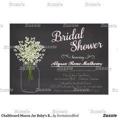 Chalkboard Mason Jar Baby's Breath Invitation PINK