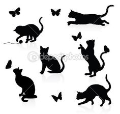 Silhuetas de gatos com borboletas                                                                                                                                                                                 Mais