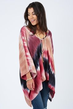 Tie Dye Poncho $58 | The #1 boutique for moms! $5 Flate Rate Shipping + FREE shipping on all orders over *$50. #Evereve
