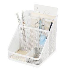 Mesh Medium Desktop Organizer White - Made By Design, True White Desktop Storage, Desktop Organization, Room Organization, Desk Partitions, Dollar Tree Organization, Plastic Organizer, Organizers, Plastic Container Storage, Stationery Items