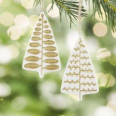 Porcelain Stamped Tree Ornaments | Crate and Barrel