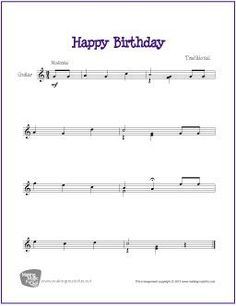 Happy Birthday | Free Sheet Music for Easy Guitar Solo (Scheduled via TrafficWonker.com)