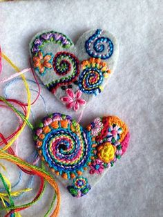 Freeform embroidery hearts in progress