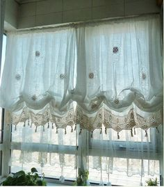 Shabby Chic Drawnwork Combined Hand Crochet White Balloon Curtain, French Pinch Pleat Drapes, Drapery Curtains