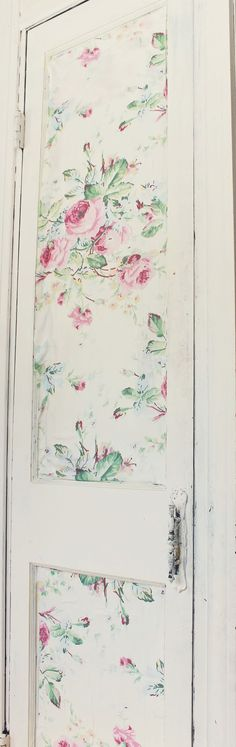 For the new House & Garden Victoria ModPodged fabric on the door of her pantry.  Trois Petites Filles: Home Goods addiction and fabric wall treatment