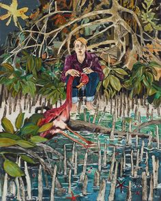 "Hernan Bas ""Case study (Kyle, flamingo incident)"" 2014 acrylic and starfish on linen"
