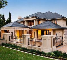 70 Most Popular Dream House Exterior Design Ideas - Ideaboz Villa Plan, Dream Home Design, Modern House Design, Luxury Homes Dream Houses, Dream Homes, Dream House Exterior, Facade House, Custom Home Builders, Estate Homes