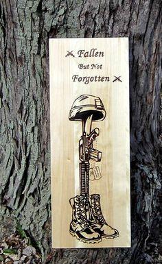 Battlefield Cross - Veterans Gift - Military Dad - Wood burned art - Memorial Family Sign - Military Sign - Custom Gift - Fallen Soldier Art