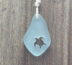 Carved Honu Turtle Sea Glass Necklace Pale Aqua by Wave of Life™