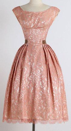 Vintage Style Scoop Neck Sleeveless Lace Pink Dress ==