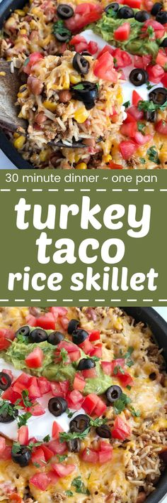 All your favorite of a taco in a one pan, skillet dinner! Turkey taco rice skillet is loaded with ground turkey, beans, corn, and tomatoes. Add in some rice and let it all simmer in a beef broth blend. Top with melted cheese and all your favorite taco top