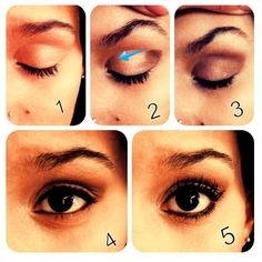 Quick and easy eye makeup!!! Not to much but just enough for work and such!! 1. Have clean eyes/put some primer on!  2/3. With a natural color start from the outside of the eye and brush in toward your nose and stay on that crease of your lid!  4. Put some eyeliner on top and bottom! 5. And of course add mascara!! Then boom!!!! Quick and easy! Ready to go!!!