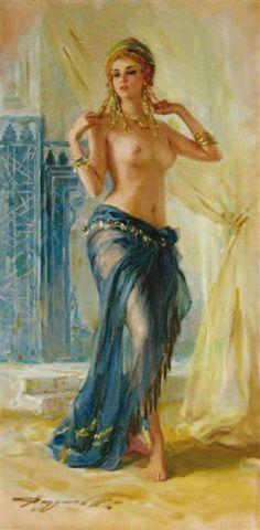 Konstantin Razumov - Danseuse orientale, Oil on canvas on MutualArt.com