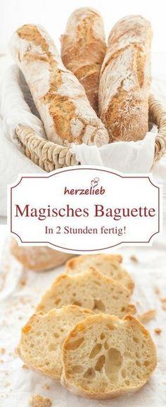Brot Rezepte: Dieses Baguette ist schnellund einfach zu backen und in 2 Stunden fertig! Das Rezept findet ihr auf herzelieb  #blogger #foodblog #foodblogger