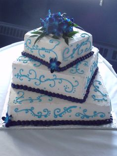 Blue Orchid Wedding Cake but instead of plain designs maybe do our vows or 1 corinthians 13:4-8! <3 totally cute!!