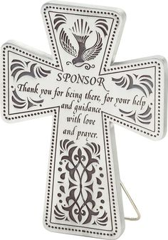 What a great gift idea for a Confirmation sponsor! A cross with a special thank you note written right on it.
