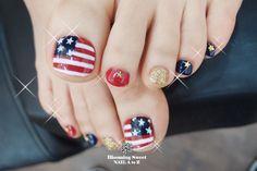 memorial day toe nail art | Forth Of July, Memorial Day, American Flag Nail Art