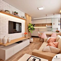 Fabulous TV Wall Design Ideas For Cozy Living Room - Good Housekeeping Mantra Living Room Tv Unit, Cozy Living Rooms, Home Living Room, Interior Design Living Room, Living Room Designs, Living Room Decor, Apartment Interior, House Design, Wall Design