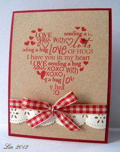 The versatility of kraft paper is delightful...luve the red and cream with it in this card...