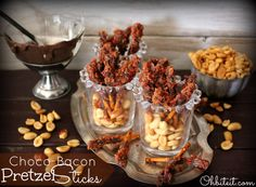 """""""Choco-Bacon Pretzel Sticks!"""" -- """"Salty, Sweet, Crunchy, Bacony, Chocolaty Goodness ~ You.Are.Welcome!"""" -- Click through for some screen-lick-worthy photos and instructions."""
