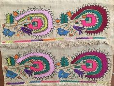 Antique Ottoman-turkish Silk & Gold Metallic Hand Embroidery On Linen N5