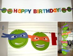 Ninja Turtle Paper plate and construction paper decorations - DolledUpDesign