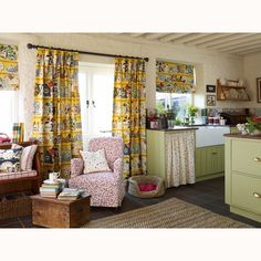 Kitchen curtains - Emma Bridgewater - Duck Egg not this yellow