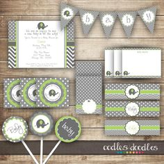 Lime Green & Gray Elephant Baby Shower Party Kit by Oodles and Doodles