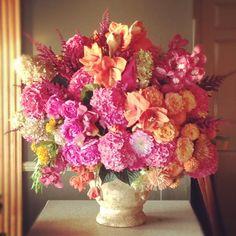 Floral by Jackson Durham #jacksondurham #pinkandorange #hydrangea #amaryllis #orangerose #wedding