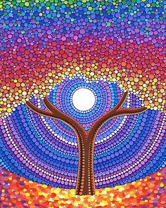'Lotus Rainbow Mandala' Art Print by Elspeth McLean Mandala Art, Mandala Rocks, Mandala Painting, Aboriginal Dot Painting, Dot Art Painting, Stone Painting, Encaustic Painting, Kunst Der Aborigines, Arte Sharpie